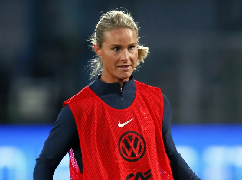 FILE - In this Thursday, April 4, 2019 file photo, France's Amandine Henry attends a training session at the Abbe Deschamps stadium, in Auxerre, central France. With an experienced side featuring seven players from the Lyon side which recently won the Champions League for the fourth straight year, host France will be among the favorites for the Women's World Cup. Among the seven Lyon players coach Corinne Diacre can count on are imposing center half Wendie Renard and midfield schemer Amandine Henry, who will captain France. (AP Photo/Francois Mori, file)