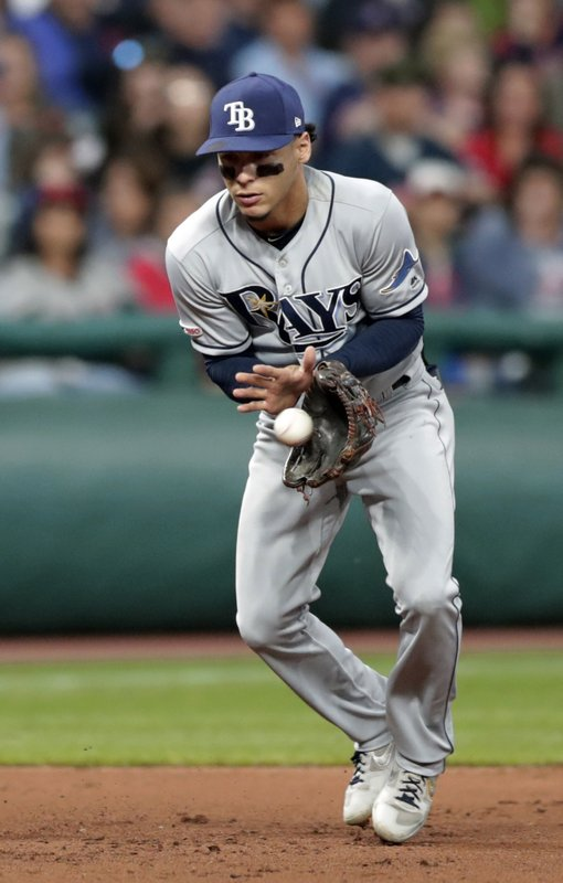 Tampa Bay Rays' Willy Adames fields a ball hit by Cleveland Indians' Eric Haase during the fifth inning of a baseball game Friday, May 24, 2019, in Cleveland. Haase was out on the play. (AP Photo/Tony Dejak)
