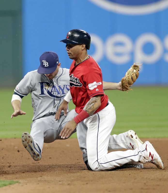 Tampa Bay Rays' Brandon Lowe, left, gets Cleveland Indians' Leonys Martin out at second base on a steal during the fifth inning of a baseball game Friday, May 24, 2019, in Cleveland. (AP Photo/Tony Dejak)