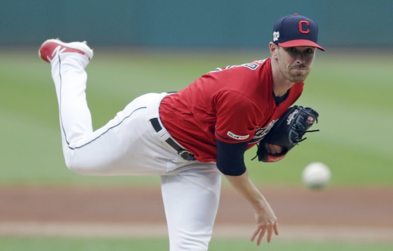 Cleveland Indians starting pitcher Shane Bieber delivers during the first inning of the team's baseball game against the Tampa Bay Rays, Friday, May 24, 2019, in Cleveland. (AP Photo/Tony Dejak)
