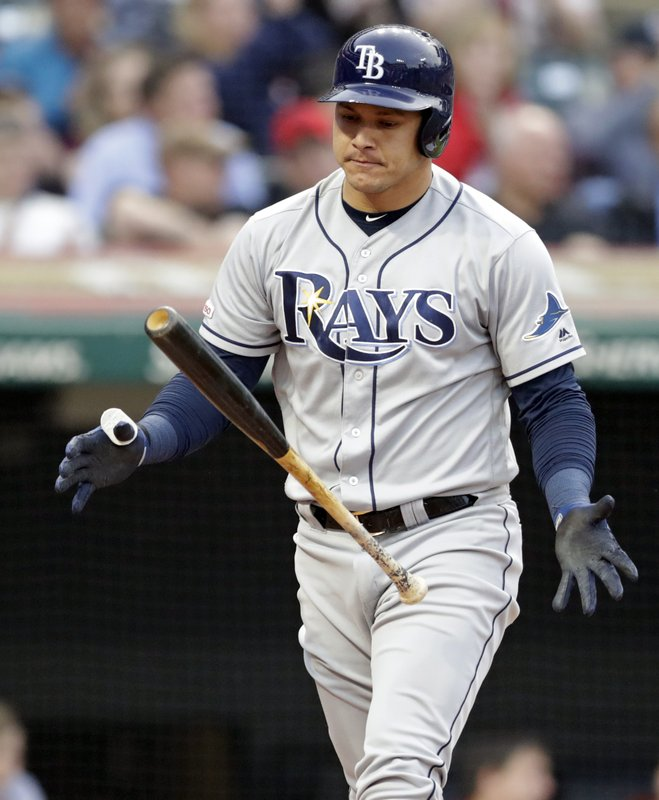 Tampa Bay Rays' Avisail Garcia flips his bat after striking out during the third inning of the team's baseball game against the Cleveland Indians, Friday, May 24, 2019, in Cleveland. (AP Photo/Tony Dejak)