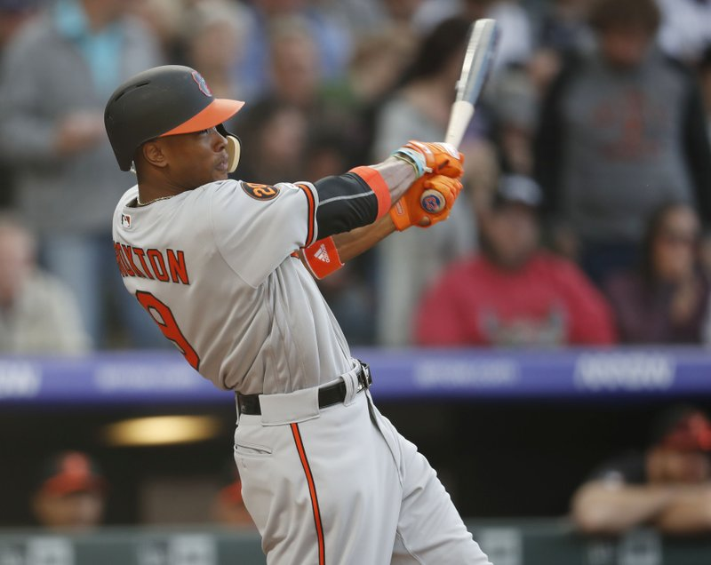 Baltimore Orioles' Keon Broxton swings at a pitch on the way to striking out against Colorado Rockies starter Jeff Hoffman in the third inning of a baseball game Friday, May 24, 2019, in Denver. (AP Photo/David Zalubowski)