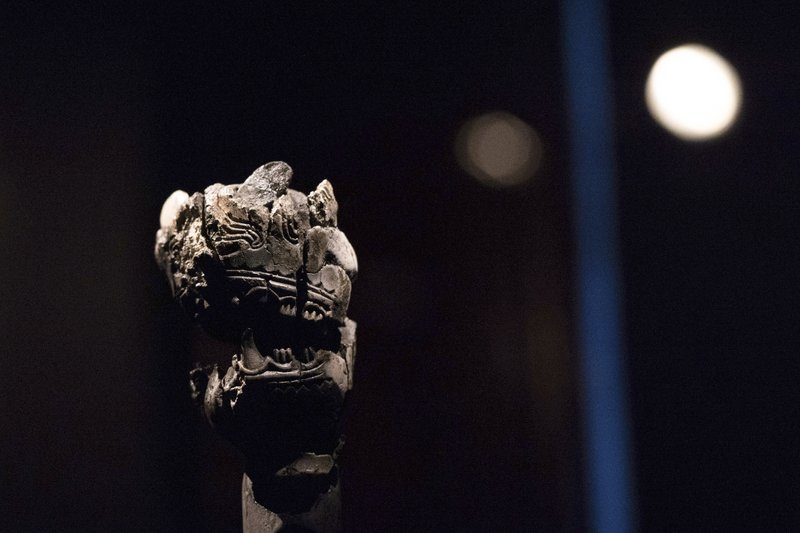 A decorated animal head recovered from the grave of a 10th-century viking woman's grave is on display inside of the American Swedish Insitute's exhibit