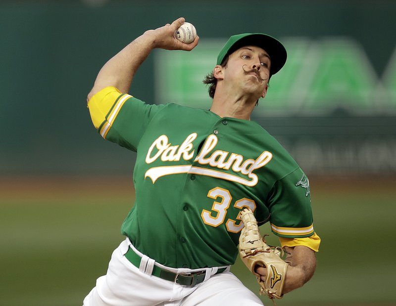 Oakland Athletics pitcher Daniel Mengden works against the Seattle Mariners during the first inning of a baseball game Friday, May 24, 2019, in Oakland, Calif. (AP Photo/Ben Margot)