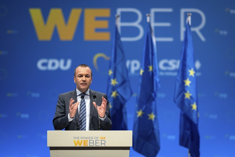 Manfred Weber, leading candidate of the EPP in the 2019 European elections, speaks during the closing rally of the EPP, CDU and CSU parties for European elections in Munich, Germany Friday May 24, 2019. (Sven Hoppe/dpa via AP)