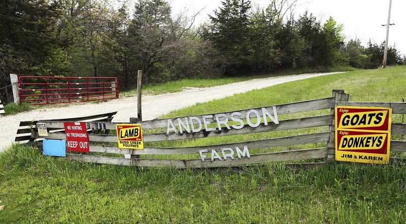 A Tuesday May 7, 2019 photo shows the entrance to the Anderson farm south of Princeton, Iowa. The farm consists of 400 acres that owners are trying to turn into a green business park.  (John Schultz/Quad City Times via AP)