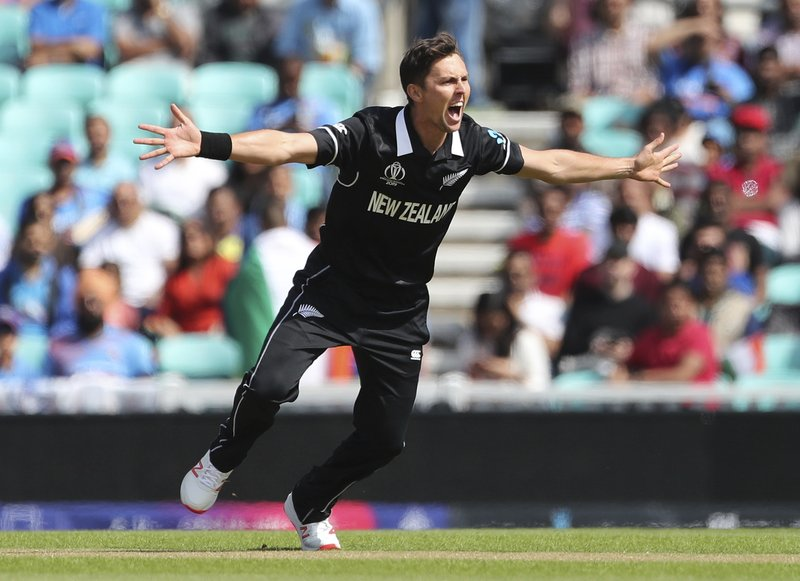 New Zealand's Trent Boult appeals successfully for the wicket of India's Rohit Sharma during the Cricket World Cup warm up match between India and New Zealand at The Oval in London, Saturday, May 25, 2019. (AP Photo/Aijaz Rahi)