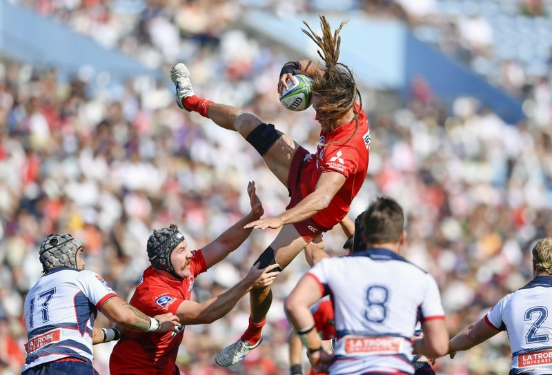 Sunwolves's Dan Pryor, catches a ball in a line out in their Super Rugby match against Melbourne Rebels in Tokyo, Saturday, May 25, 2019. (Kyodo News via AP)