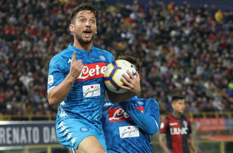 Napoli's Dries Mertens celebrates after scoring during the Italian Serie A soccer match between Bologna and Napoli at the Renato Dall'Ara stadium in Bologna, Italy, Saturday, May 25, 2019. (Giorgio Benvenuti/ANSA via AP)