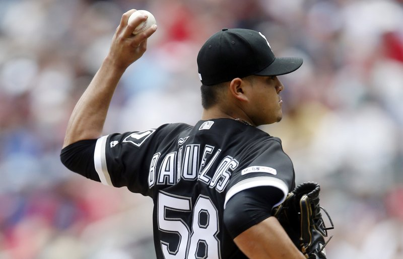 Chicago White Sox pitcher Manny Banuelos throws against the Minnesota Twins in the first inning of a baseball game Saturday, May 25, 2019, in Minneapolis. (AP Photo/Jim Mone)