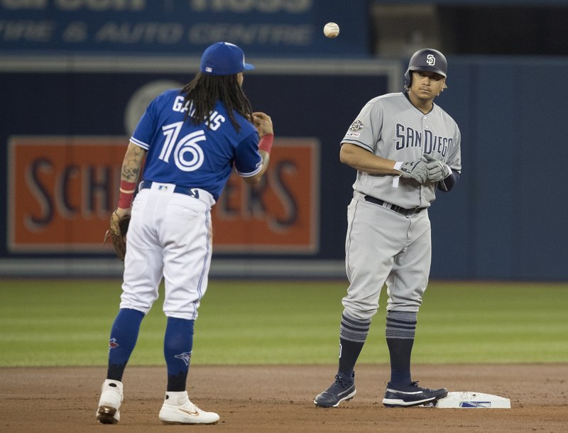 Toronto Blue Jays shortstop Freddy Galvis (16) tosses the ball to San Diego Padres' Josh Taylor, after Taylor hit a double for his first major league hit, in the first inning  of a baseball game in Toronto on Saturday May 25, 2019. (Fred Thornhill/The Canadian Press via AP)