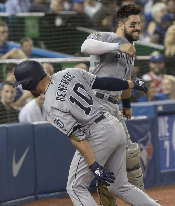 San Diego Padres' Hunter Renfroe (10) celebrates with Austin Hedges after hitting a two-run home run against the Toronto Blue Jays in the sixth inning of a baseball game in Toronto on Saturday May 25, 2019. (Fred Thornhill/The Canadian Press via AP)
