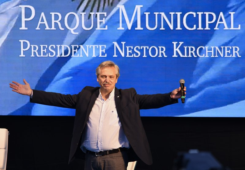 Argentine presidential candidate Alberto Fernandez acknowledges the audience during a campaign rally, in Buenos Aires, Argentina, Saturday, May 25, 2019. After her surprise announcement last week that she will run for vice president in October's general elections, former President Cristina Fernandez along with her running mate presidential candidate contender Alberto Fernandez, kicked off their campaign with a political rally on the outskirts of Buenos Aires on Saturday. (AP Photo/Gustavo Garello)