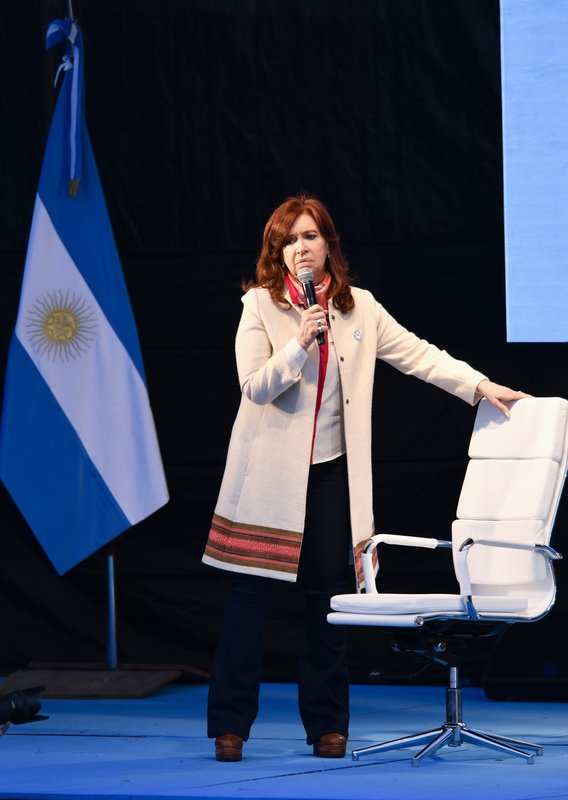 Former President Cristina Fernandez, who is running as a presidential candidate running mate, speaks during a campaign rally, in Buenos Aires, Argentina, Saturday, May 25, 2019. After her surprise announcement last week that she will run for vice president in October's general elections, Cristina Fernandez along with her running mate presidential candidate contender Alberto Fernandez, kicked off their campaign with a political rally on the outskirts of Buenos Aires on Saturday. (AP Photo/Gustavo Garello)