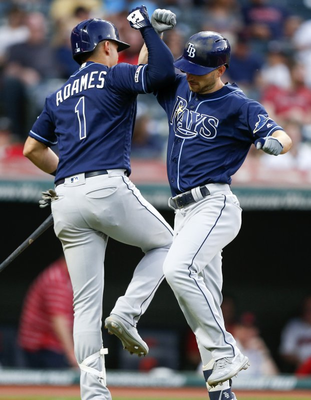 Tampa Bay Rays' Brandon Lowe celebrates with Willy Adames (1) after hitting a solo home run off Cleveland Indians starting pitcher Carlos Carrasco during the sixth inning of a baseball game, Saturday, May 25, 2019, in Cleveland. (AP Photo/Ron Schwane)