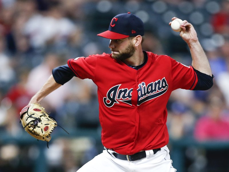 Cleveland Indians relief pitcher Josh Smith delivers against the Tampa Bay Rays during the seventh inning of a baseball game, Saturday, May 25, 2019, in Cleveland. (AP Photo/Ron Schwane)