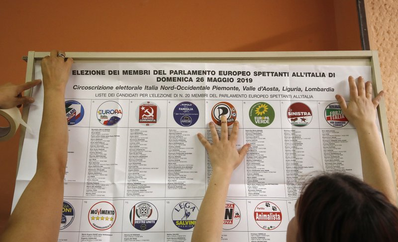 List of candidates are placed in a polling station ahead of Sunday's European Elections, in Rozzano, near Milan, Italy, Saturday, May 25, 2019. Some 400 million Europeans from 28 countries head to the polls from Thursday to Sunday to choose their representatives at the European Parliament for the next five years. (AP Photo/Antonio Calanni)