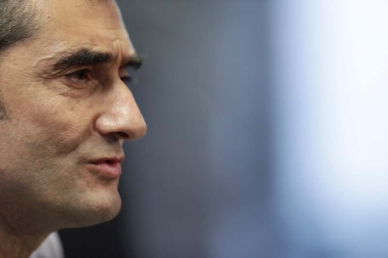 FC Barcelona's coach Ernesto Valverde gestures during a press conference at the Sports Center FC Barcelona Joan Gamper in Sant Joan Despi, Spain, Friday, May 24, 2019. FC Barcelona will play against Valencia in the Spanish Copa del Rey soccer match final on Saturday. (AP Photo/Manu Fernandez)