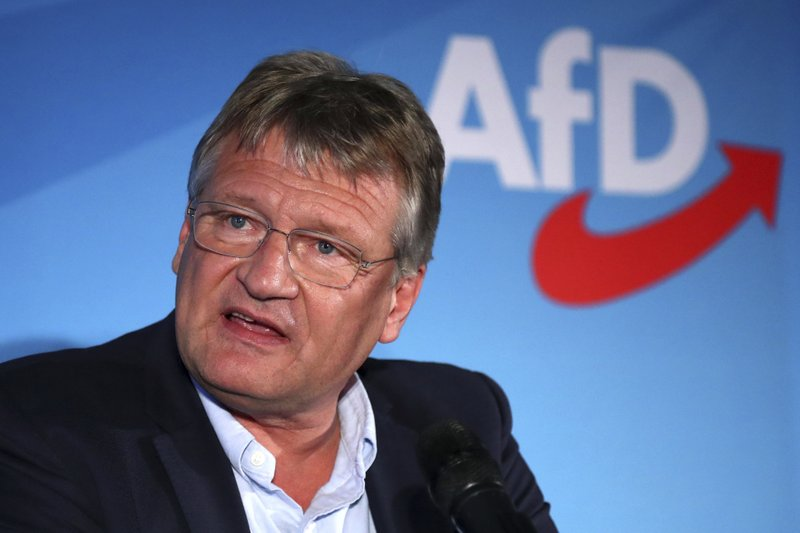Joerg Meuthen, top candidate for the European Parliament of the Alternative for Germany, AfD, delivers his speech after the polling stations for the election have closed in Berlin, Germany, Sunday, May 26, 2019. (AP Photo/Matthias Schrader)