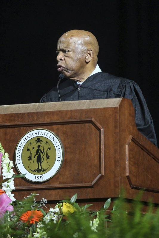 Civil rights icon and U.S. Rep. John Lewis delivers the commencement address during the Framingham State University's undergraduate commencement ceremony at the DCU Center in Worcester, Mass., on Sunday, May 26, 2019. (Dan Holmes/The Metro West Daily News via AP)