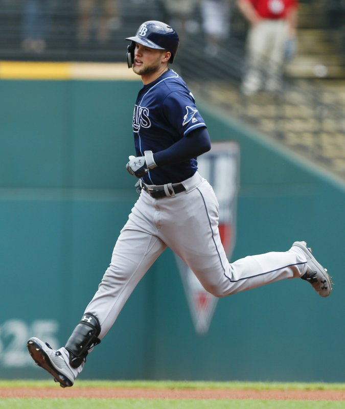 Tampa Bay Rays' Austin Meadows rounds the bases after hitting a solo home run off Cleveland Indians starting pitcher Trevor Bauer during the first inning of a baseball game, Sunday, May 26, 2019, in Cleveland. (AP Photo/Ron Schwane)