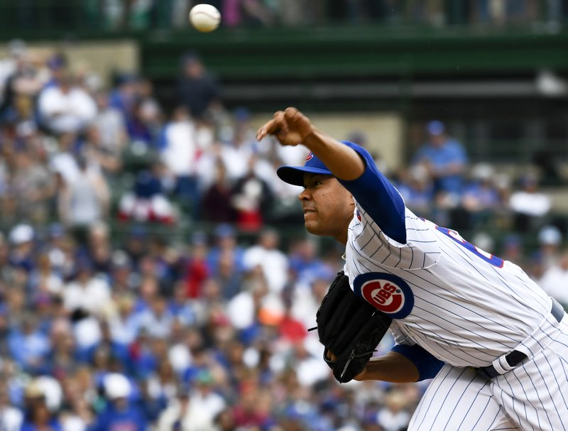 Chicago Cubs starting pitcher Jose Quintana (62) delivers during the second inning of a baseball game against the Cincinnati Reds Sunday, May 26, 2019, in Chicago. (AP Photo/Matt Marton)