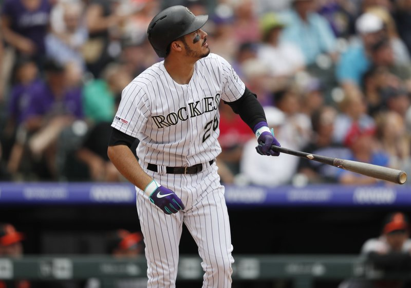 Colorado Rockies' Nolan Arenado follows the flight of his two-run home run off Baltimore Orioles starting pitcher David Hess in the sixth inning of a baseball game Sunday, May 26, 2019, in Denver. (AP Photo/David Zalubowski)