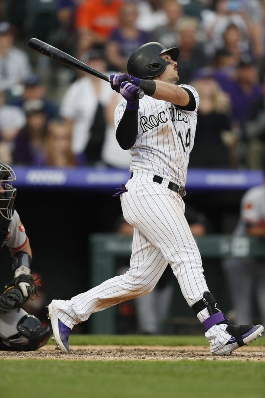 Colorado Rockies' Tony Wolters follows the flight of his sacrifice fly to bring in the winning run off Baltimore Orioles relief pitcher Mychal Givens in the ninth inning of a baseball game Sunday, May 26, 2019, in Denver. (AP Photo/David Zalubowski)