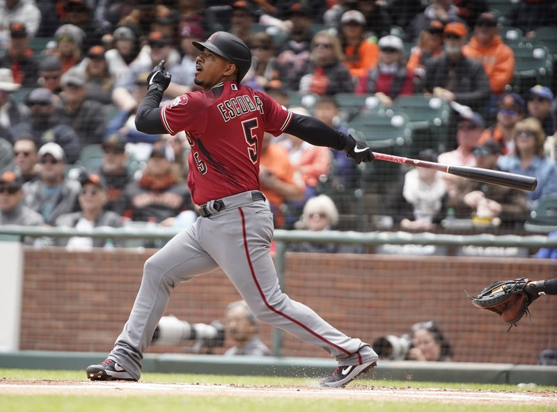 Arizona Diamondbacks' Eduardo Escobar hits a single against the San Francisco Giants during the first inning of a baseball game in San Francisco, Sunday, May 26, 2019. (AP Photo/Tony Avelar)