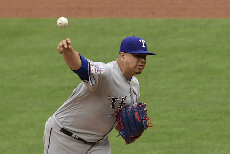Texas Rangers starting pitcher Ariel Jurado throws to the plate during the fourth inning of a baseball game against the Los Angeles Angels, Sunday, May 26, 2019, in Anaheim, Calif. (AP Photo/Mark J. Terrill)