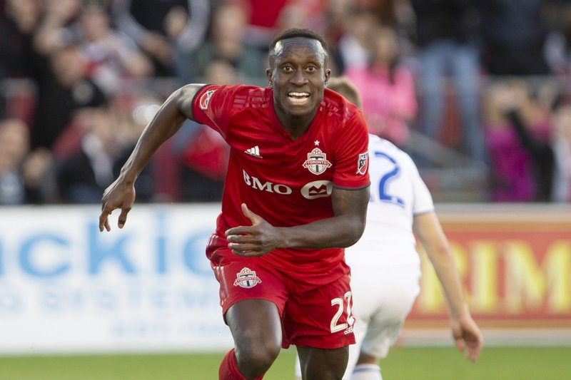 Toronto FC's Richie Laryea celebrates after scoring during first half MLS soccer action against the San Jose Earthquakes, in Toronto on Sunday, May 26, 2019. (Chris Young/The Canadian Press via AP)