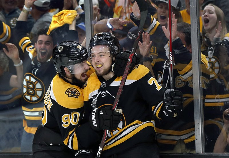 Boston Bruins' Charlie McAvoy, right, celebrates his goal against the St. Louis Blues with Marcus Johansson, left, during the second period in Game 1 of the NHL hockey Stanley Cup Final, Monday, May 27, 2019, in Boston. (AP Photo/Michael Dwyer)