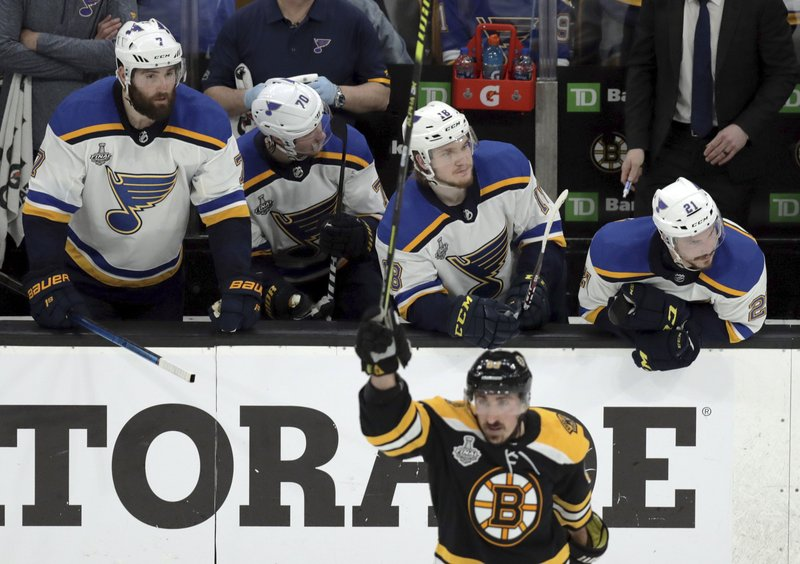 St. Louis Blues players on the bench watch Boston Bruins' Brad Marchand, front, celebrate his empty-net goal during the third period in Game 1 of the NHL hockey Stanley Cup Final, Monday, May 27, 2019, in Boston. (AP Photo/Charles Krupa)