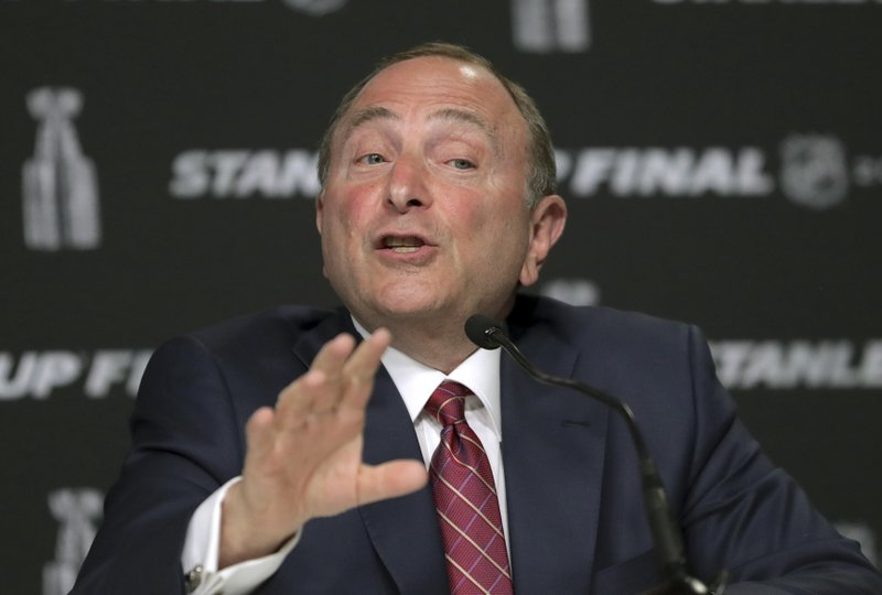 NHL Commissioner Gary Bettman speaks to the media before Game 1 of the NHL hockey Stanley Cup Final between the St. Louis Blues and the Boston Bruins, Monday, May 27, 2019, in Boston. (AP Photo/Charles Krupa)