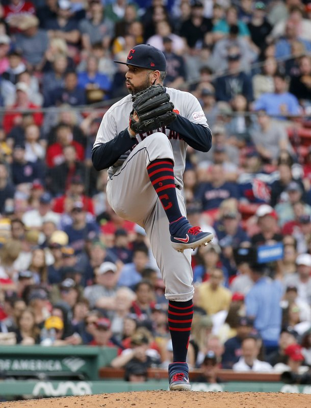 Cleveland Indians relief pitcher Oliver Perez winds up during the fifth inning of a baseball game against the Boston Red Sox, Monday, May 27, 2019, in Boston. (AP Photo/Mary Schwalm)