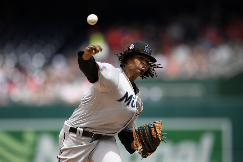 Miami Marlins starting pitcher Jose Urena delivers during the fourth inning of a baseball game against the Washington Nationals, Monday, May 27, 2019, in Washington. (AP Photo/Nick Wass)