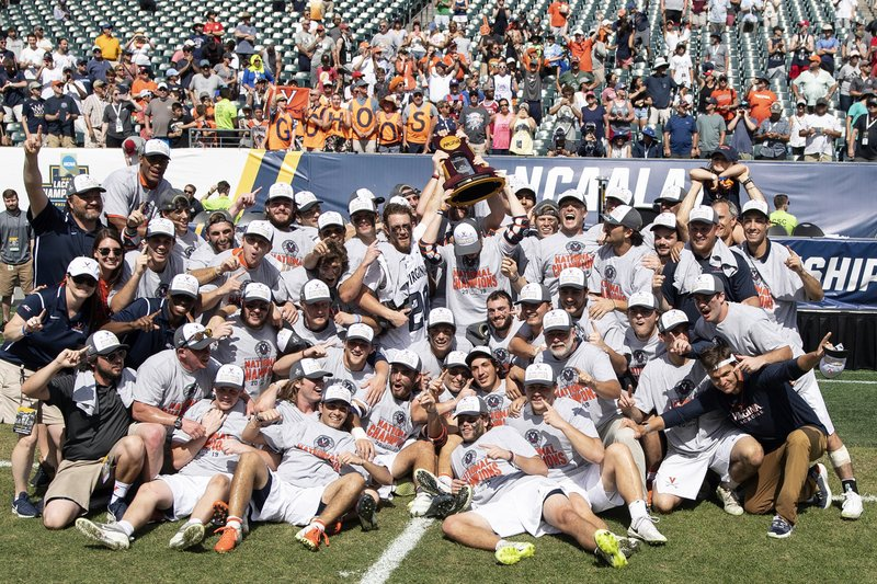 Virginia celebrates after defeating Yale in the NCAA college men's Division 1 lacrosse championship in Philadelphia, Monday, May 27, 2019. (Jose F. Moreno/The Philadelphia Inquirer via AP)