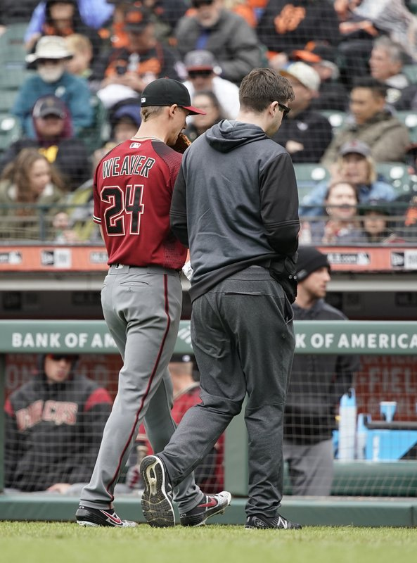 Arizona Diamondbacks pitcher Luke Weaver, left, walks off the field with a trainer during the sixth inning against the San Francisco Giants of a baseball game in San Francisco, Sunday, May 26, 2019. (AP Photo/Tony Avelar)