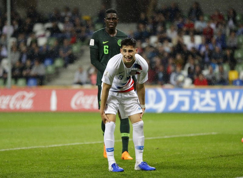 United States' Sebastian Soto reacts during the Group D U20 World Cup soccer match between USA and Nigeria, in Bielsko Biala, Poland, Monday, May 27, 2019. (AP Photo/Sergei Grits)
