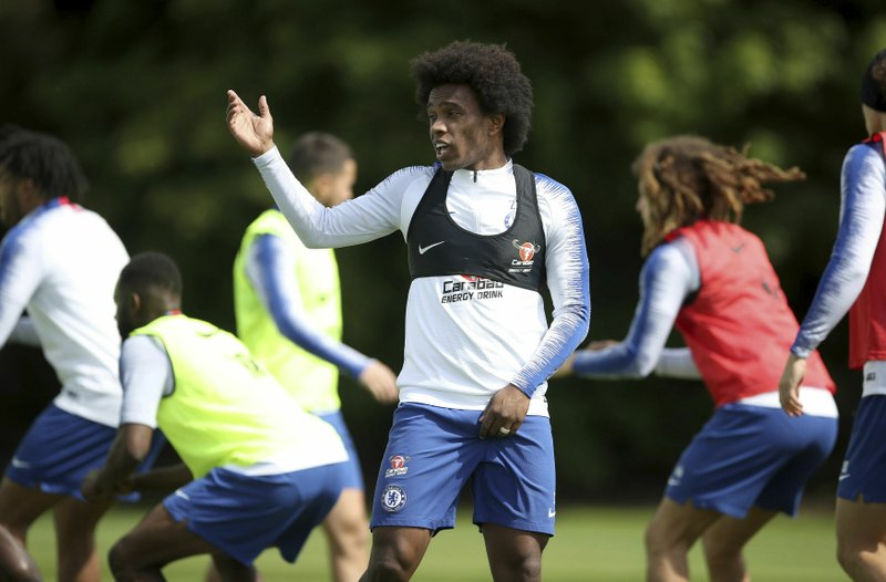 Chelsea's Willian attends a training session at Cobham Training Ground, London, Wednesday, May 22, 2019. (Tim Goode/PA via AP)