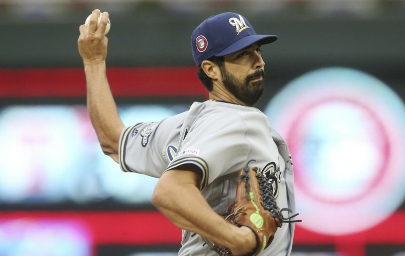 Milwaukee Brewers pitcher Gio Gonzalez throws against the Minnesota Twins in the first inning of a baseball game Monday, May 27, 2019, in Minneapolis. (AP Photo/Jim Mone)
