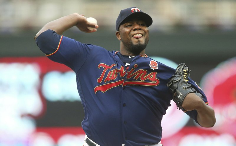 Minnesota Twins pitcher Michael Pineda throws against the Milwaukee Brewers in the first inning of a baseball game Monday, May 27, 2019, in Minneapolis. (AP Photo/Jim Mone)