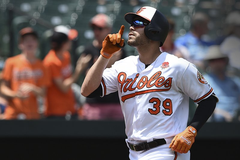 Baltimore Orioles' Renato Nunez reacts after hitting a two-run home run against the Detroit Tigers in the first inning of a baseball game, Monday, May 27, 2019, in Baltimore, (AP Photo/Gail Burton)