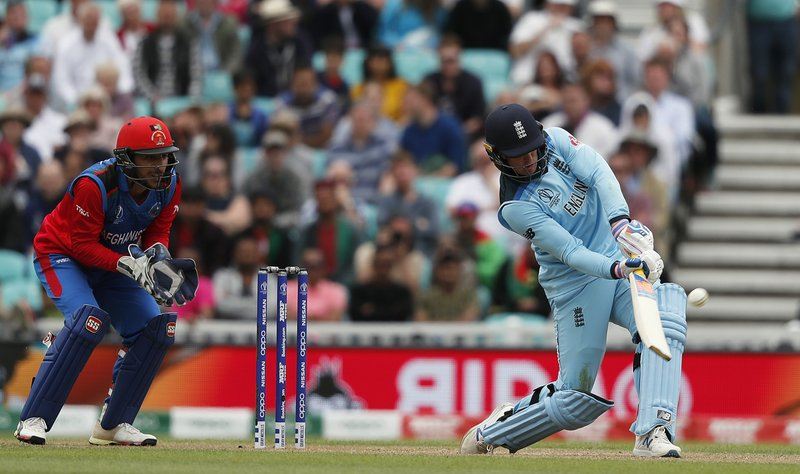 England's Jason Roy returns a shot during the Cricket World Cup warm up match between England and Afghanistan at the Oval in London, Monday, May 27, 2019. (AP Photo/Frank Augstein)