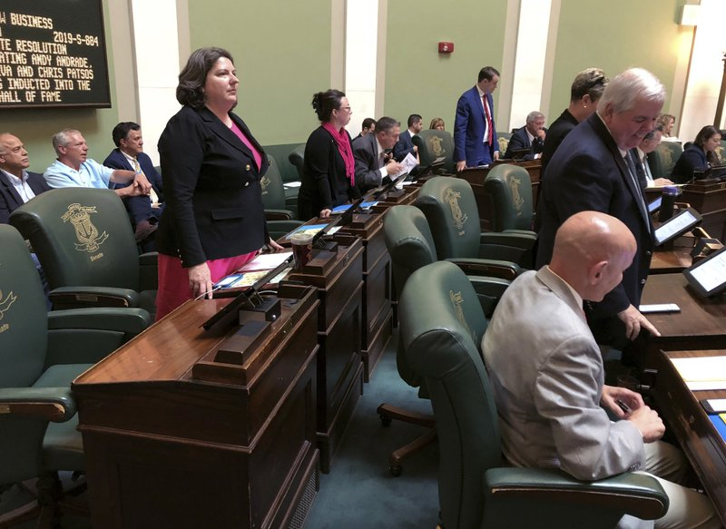In this Wednesday, May 22, 2019 photo, Democratic state Sen. Dawn Euer, of Newport, R.I., stands during a vote in the Senate chamber at the Statehouse in Providence, R.I. Euer had supported a bill to preserve federal abortion protections in Rhode Island state law, which failed in committee. (AP Photo/Jennifer McDermott)