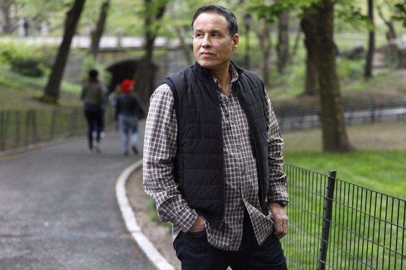 Ray Luna, from Poughkeepsie, N.Y., poses for a photo in New York's Central Park, Tuesday, April 30, 2019. Luna, who describes his current life as