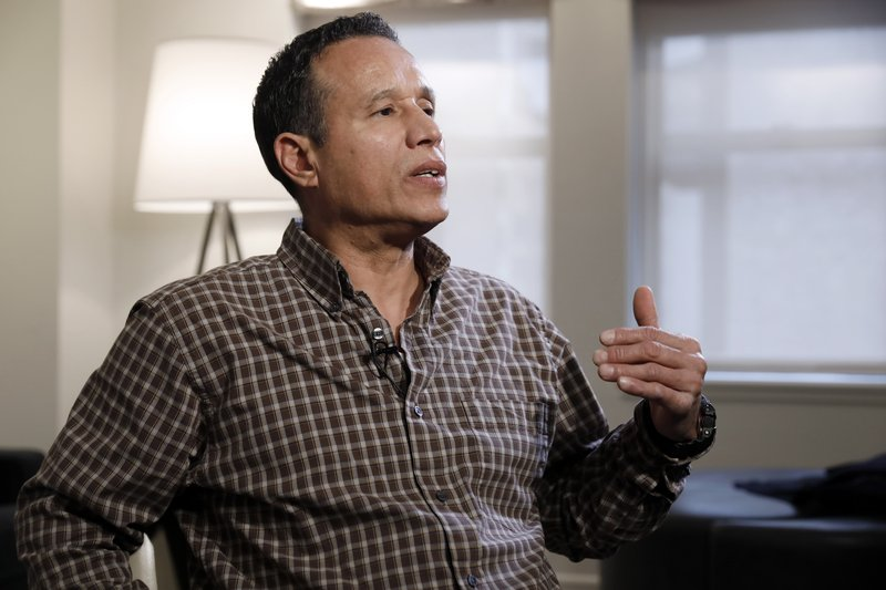 Ray Luna, from Poughkeepsie, N.Y., is interviewed in New York, Tuesday, April 30, 2019. Even during a 26-year-marriage _which produced five children before ending in divorce _ Luna says he never told his wife about the molestation. He abused drugs and alcohol to keep the bad memories at bay, and underwent years of therapy that finally paid dividends. (AP Photo/Richard Drew)