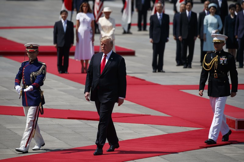 President Donald Trump participates in a welcome ceremony with Japanese Emperor Naruhito and Japanese Empress Masako at the Imperial Palace, Monday, May 27, 2019, in Tokyo. (AP Photo/Evan Vucci)