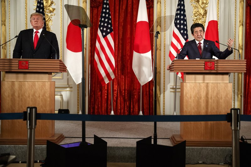 Japanese Prime Minister Shinzo Abe speaks during a news conference with President Donald Trump, at Akasaka Palace, Monday, May 27, 2019, in Tokyo. (AP Photo/Evan Vucci)