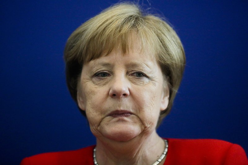 German Chancellor Angela Merkel attends a board meeting of the Christian Democratic Union, CDU, at the headquarters in Berlin, Monday, May 27, 2019. Germany's governing parties slid to their worst post-World War II showing in a nationwide election at the European Parliament elections yesterday. Merkel's center-right Union bloc drops down from 35.4 to 28.9 percents. (AP Photo/Markus Schreiber)